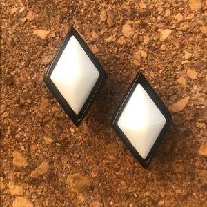 B&W rhombus vintage earrings